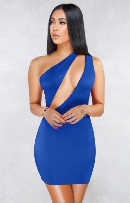 Blue Sexy One Shoulder Hollow-out Bodycon Dress