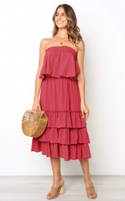Red Sleeveless 2pcs Sweetheart Layered Dress