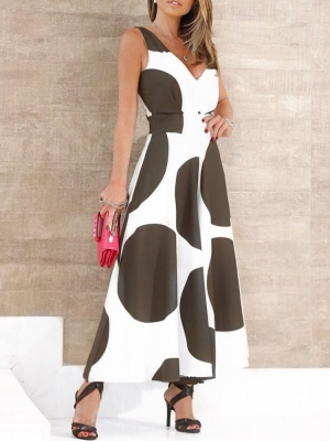 Stylish Polka Dot Printed Sleeveless Dress
