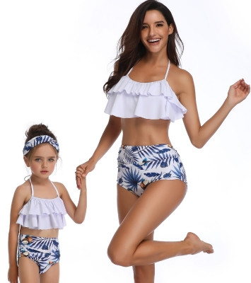 Mommy and Me Scollop Edge Blue Coconut Beach Family Matching Gilrs Swimwear