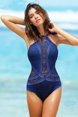 One Piece Royal Blue Hollow-out Lace Swimsuit