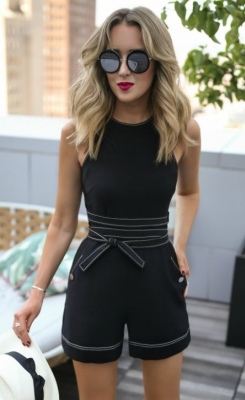 Belted Black Sleeveless Tank Top Jumpsuit