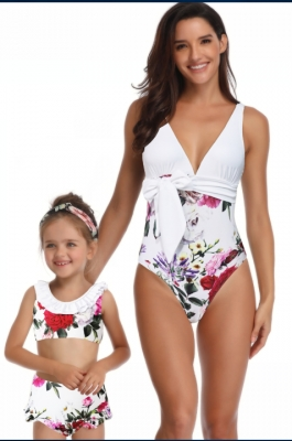 One Piece Family Matching Swimwear Flower Print White Bikini Girl Swimsuit