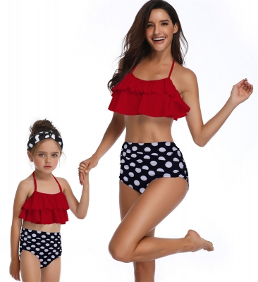 Ruffle Two Piece Swimwear Mother and Daughter Family Matching Swimsuit