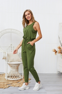Woman Casual Sleeveless Solid Jumpsuit Army Green Romper with Pockets