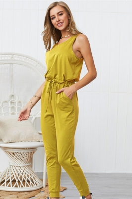 Woman Casual Sleeveless Solid Jumpsuit Yellow Romper with Pockets