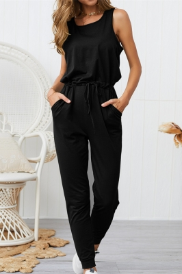Woman Casual Sleeveless Solid Jumpsuit Black Romper with Pockets