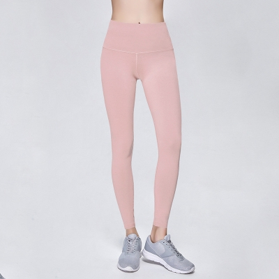 Solid Light Pink Women Sport Yoga Pants Leggings