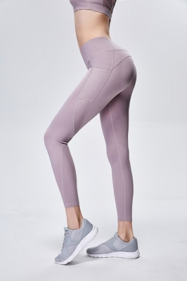 Solid Light Pueple Women Mesh Splicing Sport Yoga Pants  with Pocket  High-waist Leggings