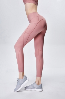 Solid Pink Women Mesh Splicing Sport Yoga Pants  with Pocket  High-waist Leggings