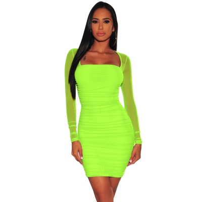 Women Solid Color Square Collar Mesh Long Sleeve Lady's Bodycon