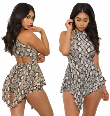 Print Geometric Hollow Back Hanging Neck Sleveless Short Dress