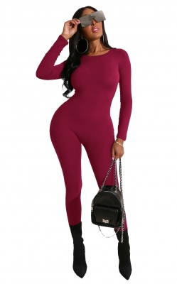Wine Red Solid Women Long Sleeve Jumpsuits