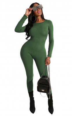 Army Green Solid Women Long Sleeve Jumpsuits