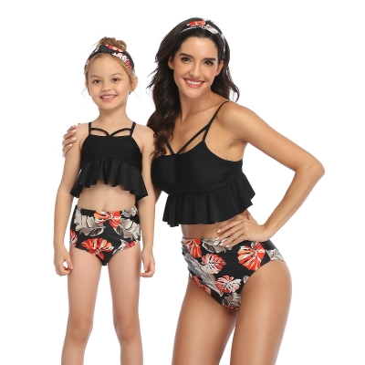 Glowing Ruffled Top and Printed Bottom High Waist Swimwear Black