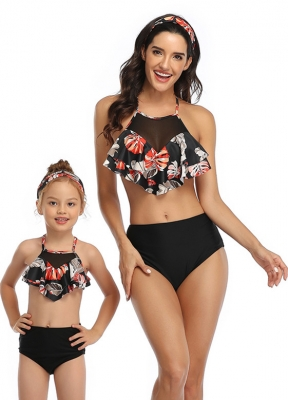 Pink Floral Printed Top and Solid  Bottom High Waist Swimwear Set