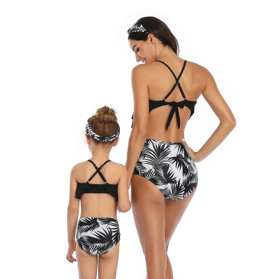 Black Solid Ruffled Top and Floral Printed Bottom High Waist Swimwear Set