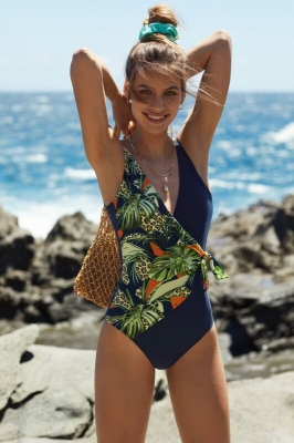 Green Leaf Printed  One piece Swimsuit with Detachable BRA