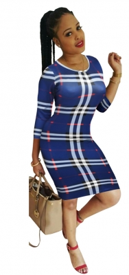 O-neck Long Sleeve Checkered Dress Sexy Women Bodycon Dress Blue
