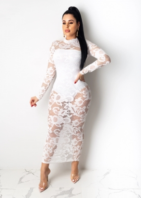 White Caged Long Sleeve  Lace Bodycon Dress O-neck Bodysuit Dress