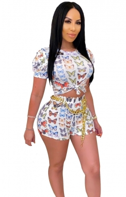 Sexy Women Fashion Print Butterfly T-Shirt Shorts Two-Pieces Suits