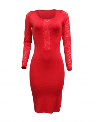 Ladies Sexy Bodycon Dress Embroidery Long Sleeves Midi Dress O-Neck