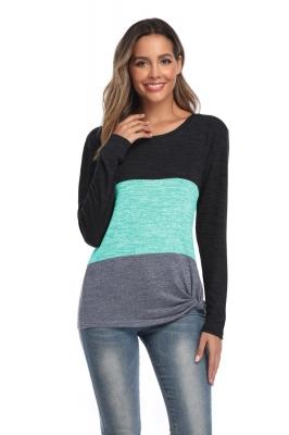 Women Tops O-Neck Long Sleeves T-Shirts Twist Knot Shirts