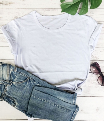 Women Tops O-Neck Short Sleeves T-Shirts Solid Color