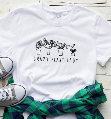 Women Casual Letter Printed T-Shirts CRAZY PLANT LADY