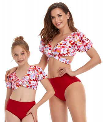 V-Neck Puff Sleeve Print Top with Solid Bottom Matching Swimsuit