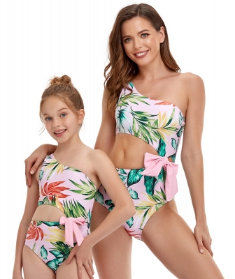 One-Shoulder Print Hollow Out Swimsuit with Bow Tie