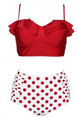 095a58cc59789 New Fashion Retro Boho Flounce High Waist Swimsuit Red #SL41877-3