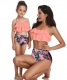 2 Pieces Leaves  Fresh Atrovirens Strappy Mommy and Me Scollop Edge Swimsuit