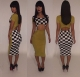 Women Fashion Sexy Dress Lattice Printing Hollow Bandage Dresses