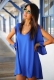 Sexy Plus Size Chiffon Off-The-Shoulder Dress  Blue