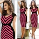 Wholesale Elastic Stripe V nect Midi Dress Rosy