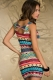 Fancy Form-fitting Stretch Mini Dress with Ethnic-print Blue Red