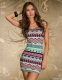 Fancy Form-fitting Stretch Mini Dress with Ethnic-print Blue Pink