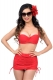 Plus Size Sexy High Waisted Wrinkle Bikini Red