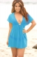 Sexy Mesh Plunge Neck Tunic Beach Cover Up Dress Lake Blue