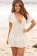 Sexy Mesh Plunge Neck Tunic Beach Cover Up Dress White