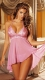 Ladies Sexy V-neck Lingerie Nightdress Pink
