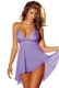 Plus size Ladies Sexy V-neck Lingerie Nightdress Purple
