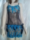 Embroidered Floral Babydoll Blue