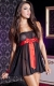 Wholesale Black Transparent Plus Size Babydoll with Red Tie Front
