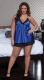 Plus Size Satin and Lace Babydoll Set Blue