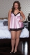 Plus Size Baby Doll With Lace trim Pink