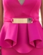 Fashion New Arrival Sexy Belted V-Neck Peplum Dress Clubwear Rosy