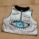 Sexy Sequined Big Eye Print Camisole Silver
