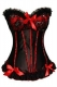 Sexy Women's Red Lace Ruffle Trimmed Bows Corset Black